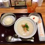 おかゆと麺のお店 粥餐庁 - モーニングA干し海老とザーサイのお粥450円