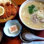 ラーメン花ぐるま - 料理写真:とんかつ&ラーメンセットみそ変更1280円