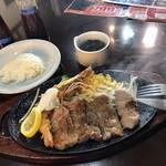 レストラン ベルク - ジャンボ海老フライ&牛サーロインステーキ