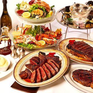 熊本あか牛のステーキの他、厳選食材を贅沢に使用したメニュー