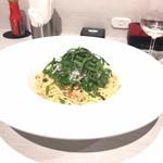 プレミオ ピエトロ - 瀬戸内しらすとオクラの納豆パスタ       実はこんなに大きなお皿