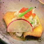 里湯昔話・雄山荘 - -先付- 柿白酢和え。