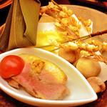 里湯昔話・雄山荘 - -前菜- 合鴨と鯖のなれ寿し。