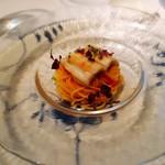 Aroma Fresca Nagoya - 穴子の大葉蒸し 花穂と赤ジソ フレッシュトマトソースのスパゲティ