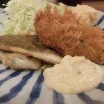 とんかつ小田保 - アイナメバターと牡蠣ふらい