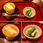 109666745 - 前菜                       葛餡のかかった美の豆腐とじゅん菜の和え物