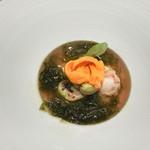 レザンファン ギャテ - はまぐりとそら豆のロワイヤル、あおさ海苔、青山椒