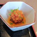 キッチンしま - 小鉢は美味しい魚のミンチの揚げ物、タレが美味しかったけど柑橘が何か入ってるのかな?