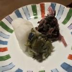 三田ばさら - 三田ばさら(東京都港区芝)トマト すきやき・食事 タリアテッレ(平打ちパスタ) 香の物