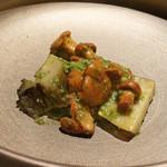 エクアトゥール - あわび セップ茸 バターと枝豆のソース
