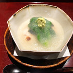 Furuta - 1.河豚の白子 菜の花 蕪 みぞれ餡掛け('19.2月下旬)