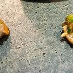 ビストロ アギャット - キャビアブリニー、稚鮎のリエットキュウリのソース