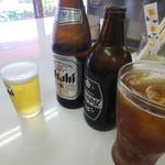 煮干ラーメンとローストビーフとステーキ パリ橋 - ホッピーとビール(乾杯)