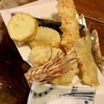 みのたけ - 海老、アナゴ、キス、茄子、山芋(?)の天ぷら