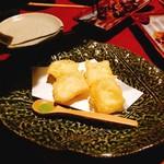 千年の宴 - 比家生ゆばとモッツアレラチーズの天ぷら(550円)