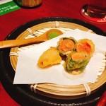 千年の宴 - 辛子明太子の天ぷら(480円)