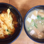 十八番 - 朝丼(¥300)ミニ和風天津飯とミニ味噌汁 私には十分な量でした