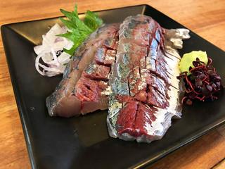 魚忠 - 鯵の造り800円('19.6月初旬)