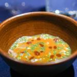 abysse - 鯵  葉わさび みょうがたけ 味噌  水茄子 ヘーゼルナッツ