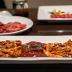 竹屋牛肉店 - 2019.6 ホルモンの三種盛り(980円)レバー、コプチャン、ハチノス