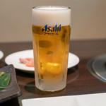 竹屋牛肉店 - 2019.6 アサヒスーパードライ 生ビール 中(580円)