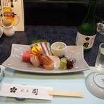 割烹 司 - お造り盛り合わせ & 冷酒(司 純米吟醸)