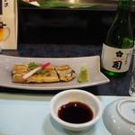 割烹 司 - うなぎ白焼き(半尾) & 冷酒(司 純米吟醸)