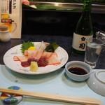 割烹 司 - くじらベーコン & 冷酒(司 純米吟醸)