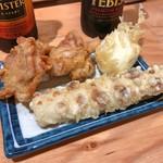 自家製さぬきうどんと肉 新橋甚三 - 天ぷら3種盛り(鶏天2個 + ちくわ天1本 + 卵天1個)