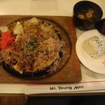 10992023 - ヤングマンセット(お好み焼き・やきそば・お味噌汁・ライス)790円