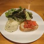 109934818 - 前菜 ニンニクが刺さったポテトサラダ、ブルスケッタ、グリーンサラダ(19-06)