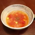 ジャム cafe 可鈴 - 【週替わりランチ(1,050円)】トウモロコシとトマトのスープ