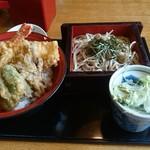 すぎのや本陣 雅庵 - 天丼セット(冷たいそば)980円