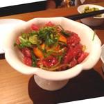 109969899 - 華やかかつ美味しい桜肉のユッケ♡