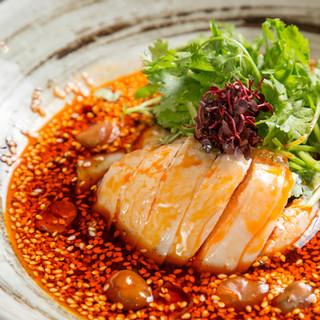 """名物料理""""四川式よだれ鶏""""◇コースやランチでも愉しめます。"""