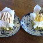 ボン・キャフェ・ナ・パ・ドンセイヌ - 紅茶のモンブランとかぼちゃのモンブラン。