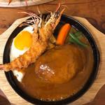 洋食春 - 有頭海老フライ&ハンバーグセット