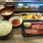 焼肉 一ノ十 - 和牛カルビ定食(1,058円)