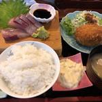 ダイニングステージ 佐海屋 - アサリのクリームとお造りランチセット 950円