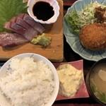 ダイニングステージ 佐海屋 - アサリのクリームコロッケとお造りランチセット 950円