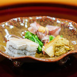 味享 - 料理写真:蕗の薹、素揚げして炊いたもの 笹かれい 蛍烏賊、酢味噌 菜の花のお浸し 春子鯛の押し寿司