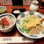 神田 本陣房 - 明太高菜しらすごはんと海老天ぶっかけ蕎麦