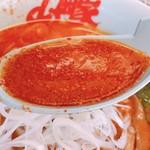 山岡家山形西田店 - 地獄の激辛ラーメンのスープ
