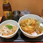 そばいち - かけそばと恵比寿鯛ごはん + かき揚げ + ヱビスビール 小瓶