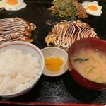狸狸亭 - お好み焼定食①