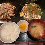 狸狸亭 - お好み焼定食②