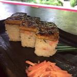 110148576 - 鯖寿司は 山田家さんの看板メニューのひとつ                       こちらへ来るなら是非にとも
