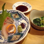 Sushikuijinushari - コースの前菜と刺し身(ブリ)