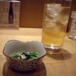 Sushikuijinushari - 梅酒のソーダ割りと奪い取った前菜