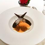 ルメルシマン オカモト - チョコレートのシャーベット、オレンジのコンポート